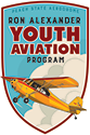 Ron Alexander Youth Aviation Program Logo - Yellow airplane against sky and cloud